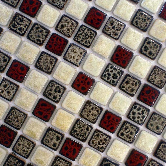 Italian Porcelain Mosaic Tile Mixed Red Brown Beige Etsy