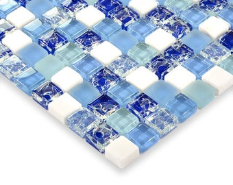 "Blue Glass and Cream Stone Random Mix Matte Mosaic Crackle Crystal Tile Backsplash Cheap Floor and Wall Tiles (6 PCS, 11.8""x11.8"" /each)"
