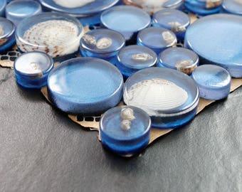 Blue Mosaic Resin Glass Conch Tile Backsplash Crystal Tile Penny Round with Shells Bathroom Tiles for Wall Decor