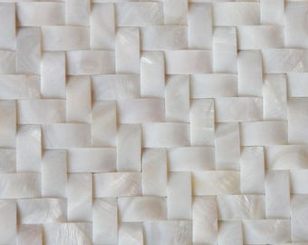 White Mother of Pearl Arched Tile Backsplash Herringbone Mosaic Patterns Seamless Natural Shell Cheap Wall Tiles