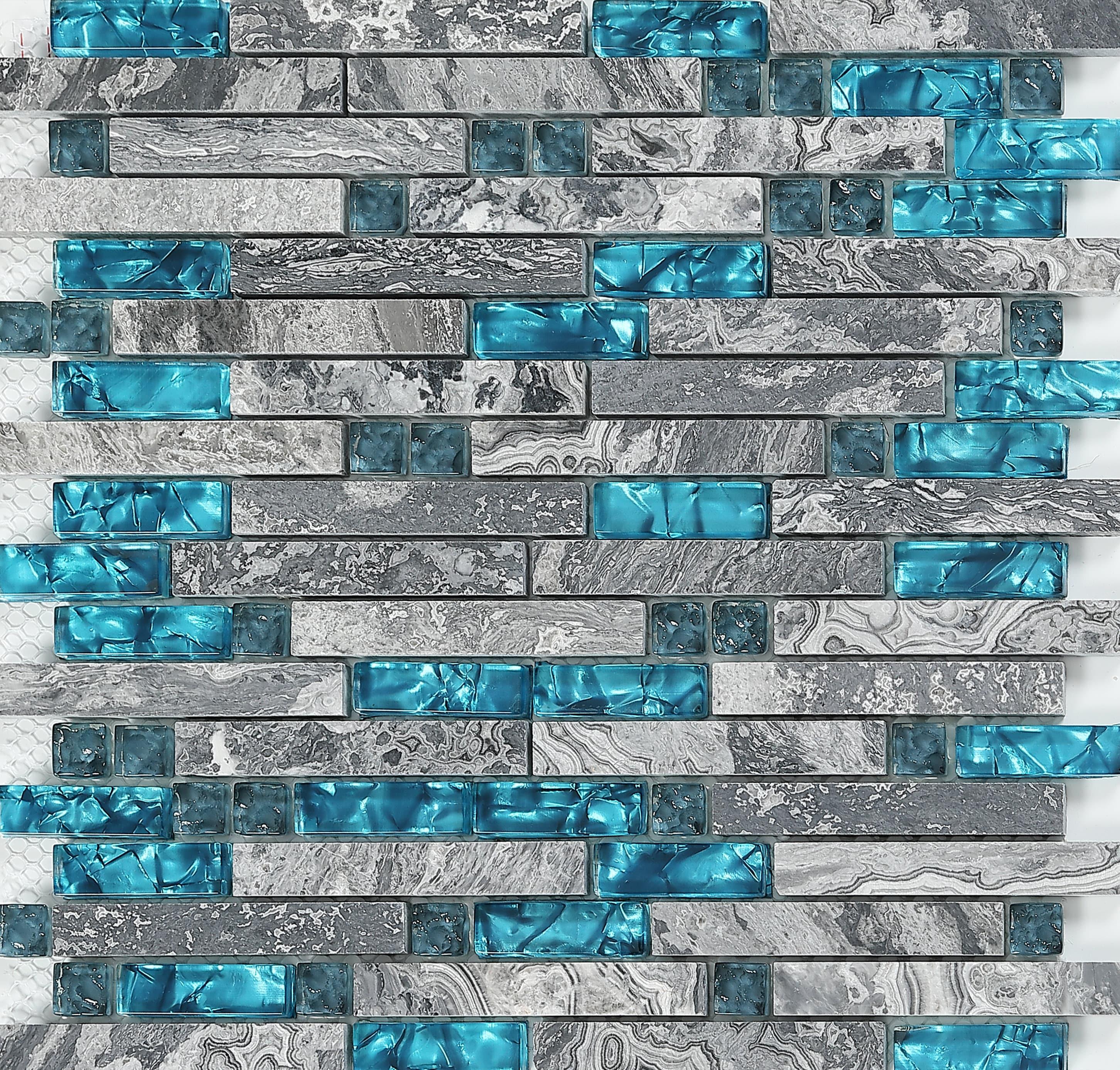 Random Kitchen Tile Patterns: Gray Marble Backsplash Wall Tiles Teal Blue Glass Bathroom