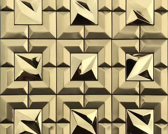 Gold/Rose Gold/Silver Stainless Steel Tile Glitter Metal 3D Wall Kitchen Backsplash Grid Window Metallic Mosaic Tiles