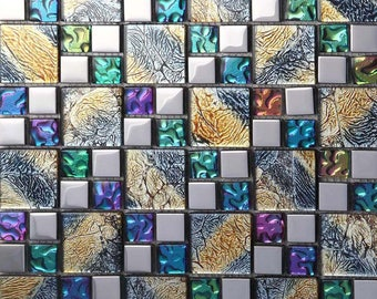 Iridescent Mosaic Tile Plated Silver Glass Backsplash Rainbow Kitchen Designs Multicolor Crystal Bathroom Wall Tiles