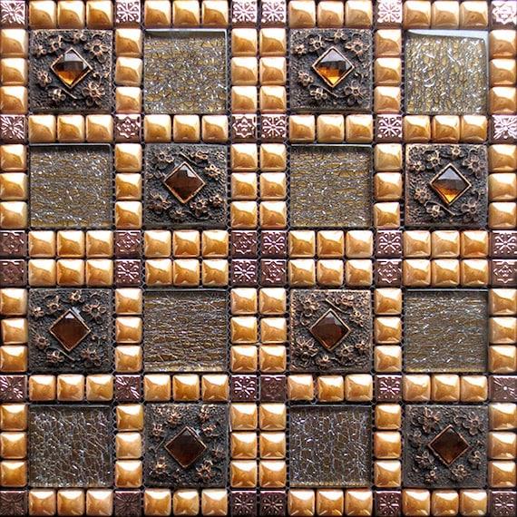 Crackle Glass Mosaic Patterns Porcelain Accent Tiles Rose Gold   Etsy