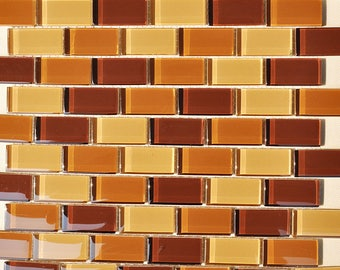 Glass Mosaic Tile Orange Crystal Backsplash Subway Tile Kitchen Wall Tiles Decorative Brick Wall Tiles Bathroom