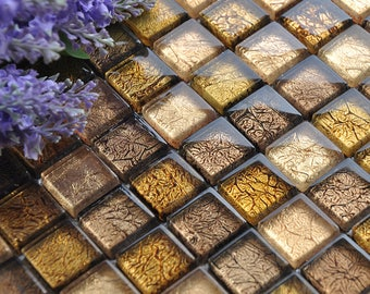 "Glass Mosaic Tiles Square Gold Crystal Backsplash Tile Kitchen Wall Tiles Floor Stickers Bathroom Cheap Tiles (6 PCS, 11.8""x11.8"" /each)"