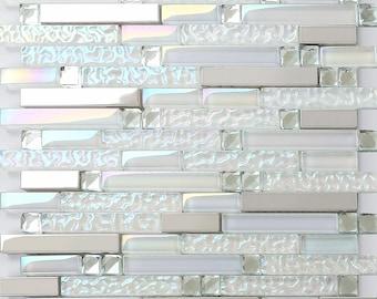 Iridescent Glass No-slip Wave Silver Stainless Steel Tiles Crystal Diamond Metal Mosaic Tile Kitchen & Counter Backsplash