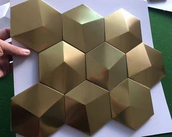 Gold Metal Mosaic Tile Stainless Steel Tile pyramid patterns Kitchen Backsplash Wall brick Tiles Metal mirror Wall designs