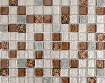 Stone and Glass Mosaic Tile Sheets Resin Glass with Flower Patterns Bathroom Backsplash Wall Decor and Floor Tiles