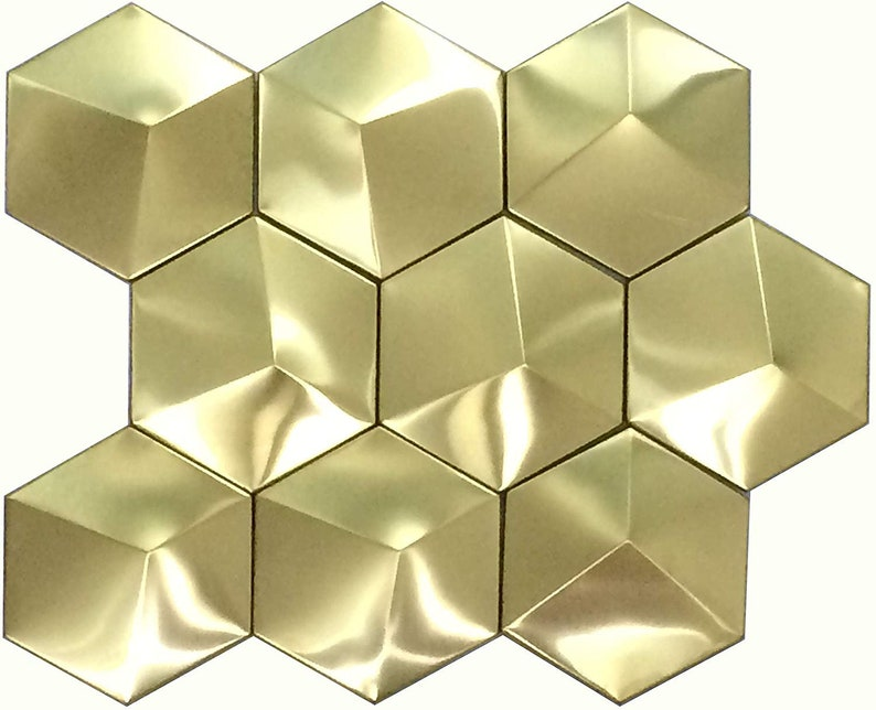 In acciaio inox oro accento piastrelle esagono grande etsy