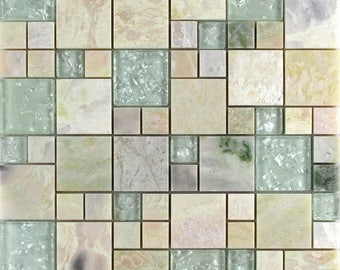 "Natural Stone and Crystal Mosaic Tile Pink Marble Crackle Glass Kitchen Backsplash Cheap Floor and Wall Tiles (6 PCS, 11.8""x11.8"" /each)"