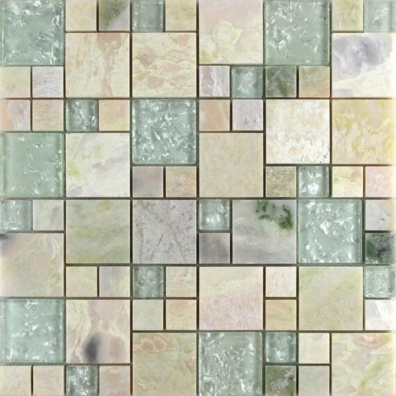 Natur Stein Und Kristall Mosaik Fliesen Rosa Marmor Crackle Etsy