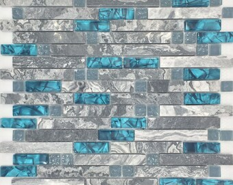 Gray Marble Backsplash Tile Peacock Blue Glass Mosaic Random Wave Patterns Aqua Crystal Interlocking Bathroom Wall Tiles