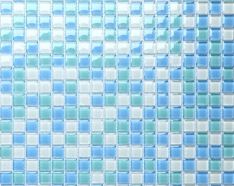 Sea Blue Glass Tile Sheets for Shower Wall Tiles Glossy Crystal Mosaic Kitchen Backsplash Bathroom Cheap Tiles