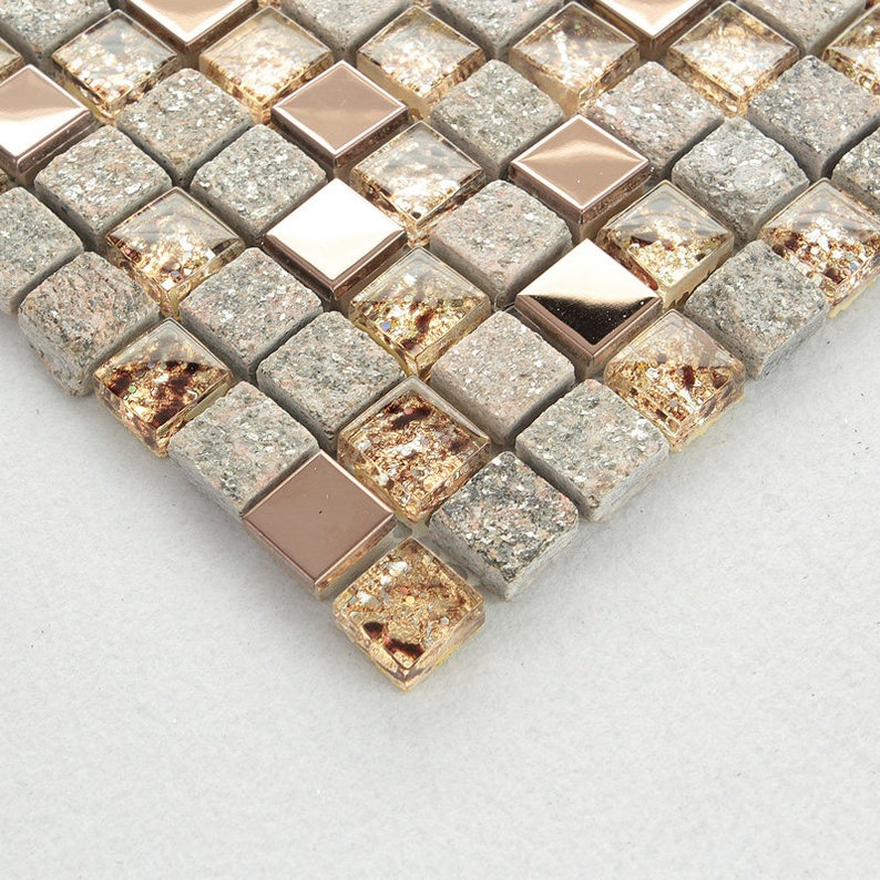 Gray And Rose Gold Kitchen Backsplash Glass And Stainless Etsy