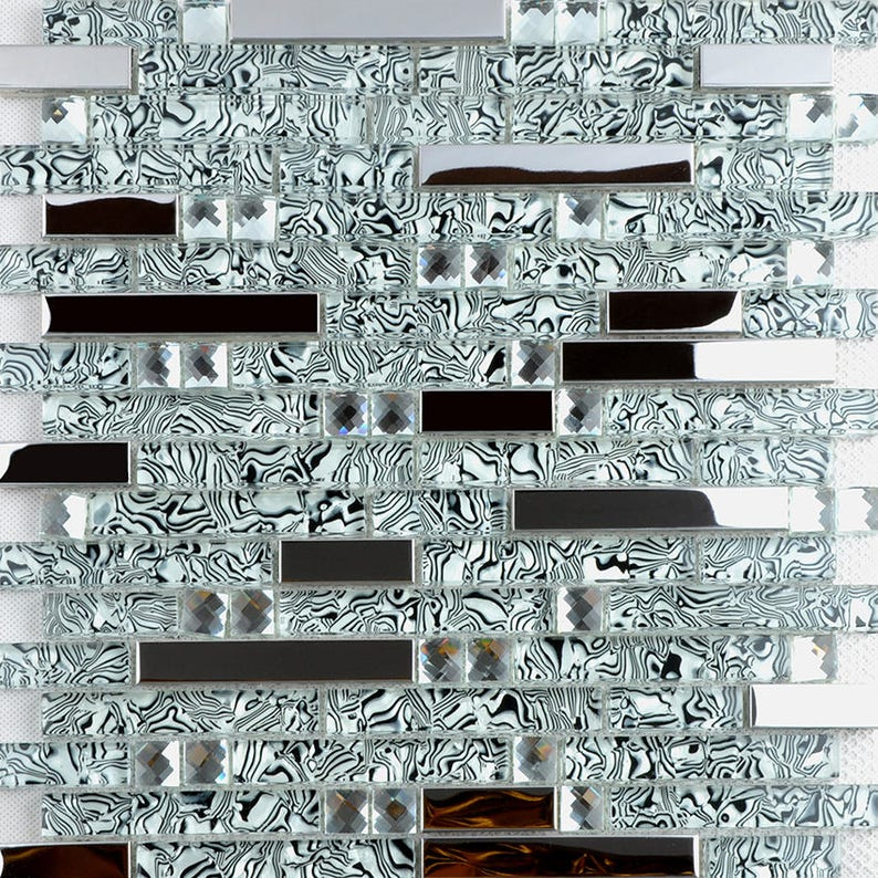 Glass And Stainless Steel Backsplash Tile Silver Metal And Etsy
