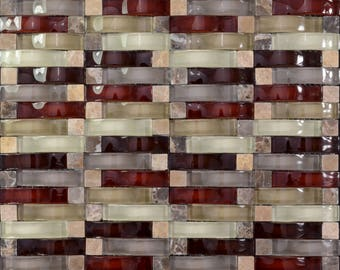 "Crystal Mosaic Tile Arched Kitchen Backsplash Bridge Patterns Multi-colors Glass and Stone Mosaic Wall Tiles (6 PCS, 11.8""x11.8"" /each)"