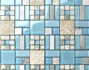 Glass & Stone Blend Mosaic Backsplash Tiles Kitchen Blue Natural Marble Bathroom Shower Cheap Wall and Floor Tile