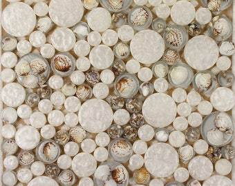 """Glass Mosaic Conch Tile Backsplash Clear Resin Tile Penny Round White/Gold/Yellow Bathroom Tiles for Wall Decor (6 PCS, 11.8""""x11.8"""" /each)"""