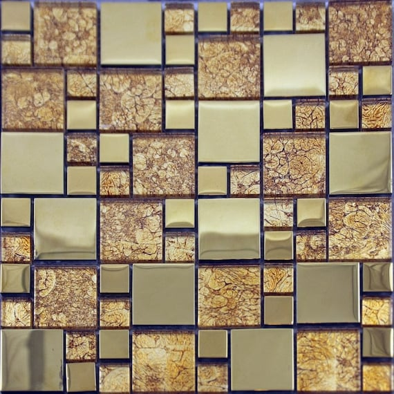 Clear Crystal Tile Square Mosaic Plated Craft Design Kitchen