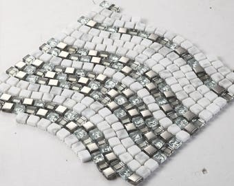 Glass and Natural Stone Mosaic Wave Patterns Cream and Silver Tile Bathroom Mirror Backsplash Cheap Wall Tiles