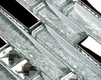Silver Stainless Steel and Clear Crystal Backsplash Random Mix Glossy Metal Diamond Glass Mosaic Bathroom