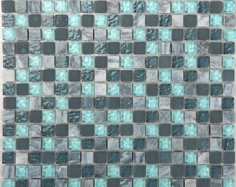 "Stone and Glass Mosaic Sheets Aqua Square Tile Natural Marble Tile Kitchen Backsplash Cheap Floor and Wall Tiles (6 PCS, 11.8""x11.8"" /each)"