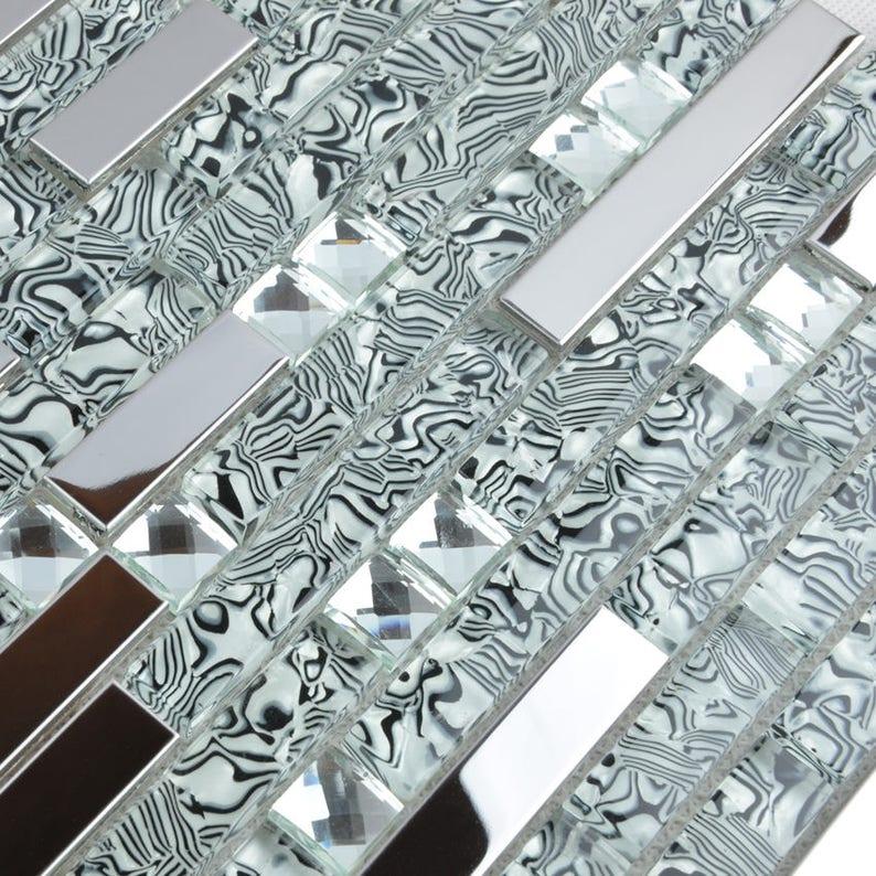 Glass And Stainless Steel Backsplash Tile Etsy