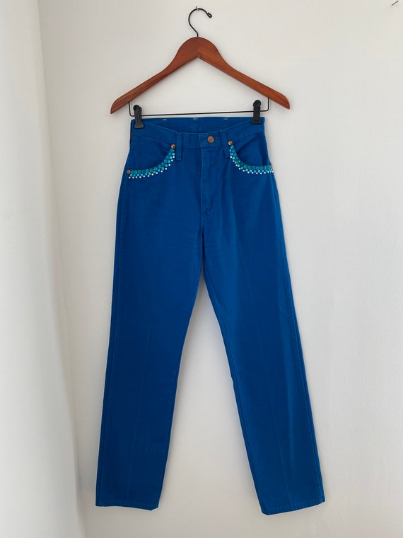 1970s Bejeweled Blue Wrangler Jeans with Rhineston