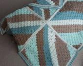 Afghan blanket, crocheted in coastal colours in woolcraft yarn