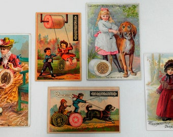 5 Vintage Trade Cards Advertising Merrick Thread & Willimantic Thread