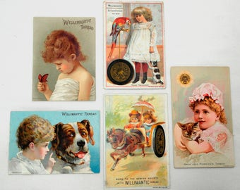 5 Vintage Trade Cards For Merrick's Thread and Willimantic Thread
