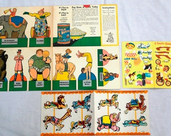 Unused 3 Piece Assortment Of Advertising Circus Cut-Outs