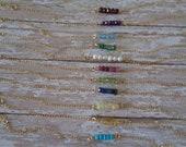 Birthstone Bracelet, 14K GF Dainty Bracelet, 14K Gold Filled Bracelet, Minimal Bar Bracelet, Genuine Gemstone Bracelet, Gift For Her