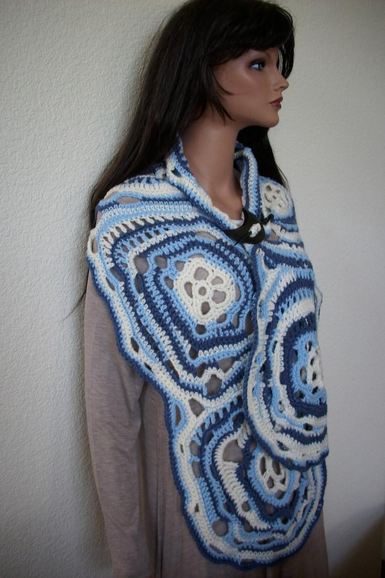 Blue White freeform shawl gypsy poncho art to wear boho cape free style shawl ooak long shawl crochet large long rectangle shawl