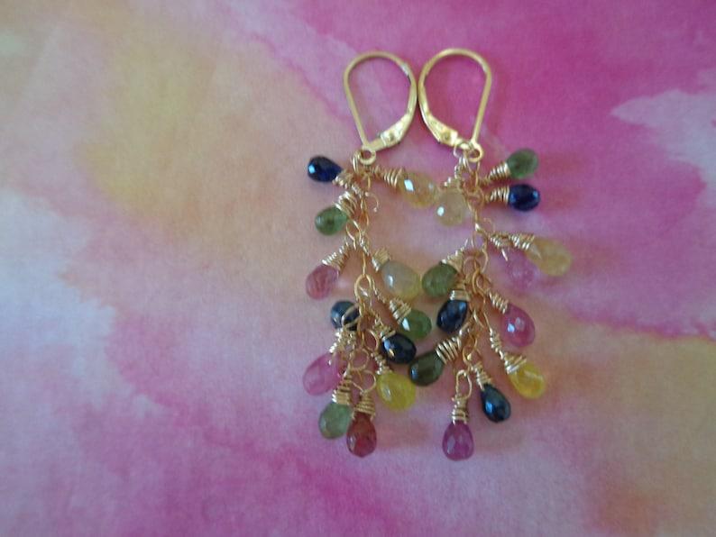 Rainbow Sapphire Earrings,Gold Earrings Multi-Color Gemstone Earrings Gift For Her September Birthstone Dainty Earrings
