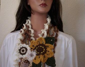 hippie gypsy necklace scarf, freeform crochet art scarf, summer sunflower necklace, unique necklace scarf, art to wear
