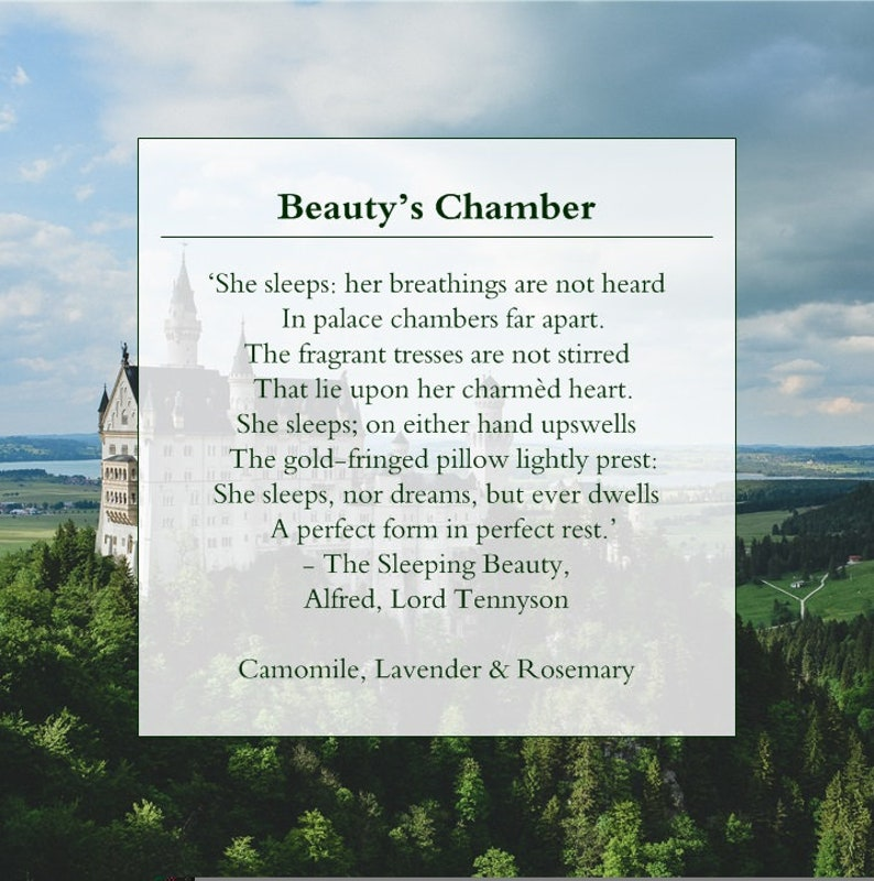 The Sleeping Beauty Beauty/'s Chamber: Camomile Lavender /& Rosemary Literature Lover Natural Scented Soy Candle Alfed Lord Tennyson