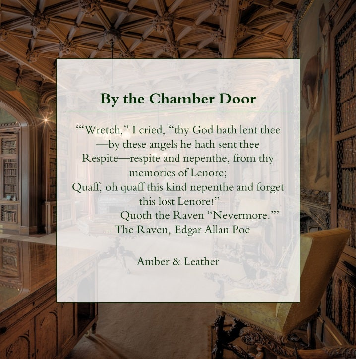 By the Chamber Door: Amber & Vintage Leather - Literature Lover Natural  Scented Soy Candle - The Raven - Edgar Allan Poe