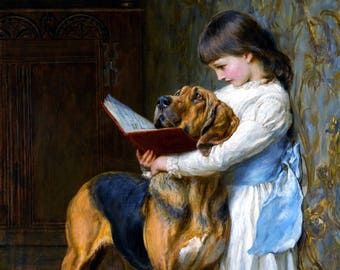 Girl With Dog Reading vintage art by Briton Riviere               Vintage art