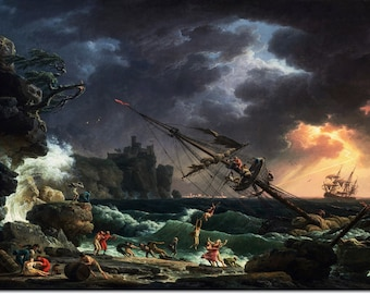 Funny Gift Home Decor Adventure Mermaid Shipwreck Oil Painting Printed on canvas