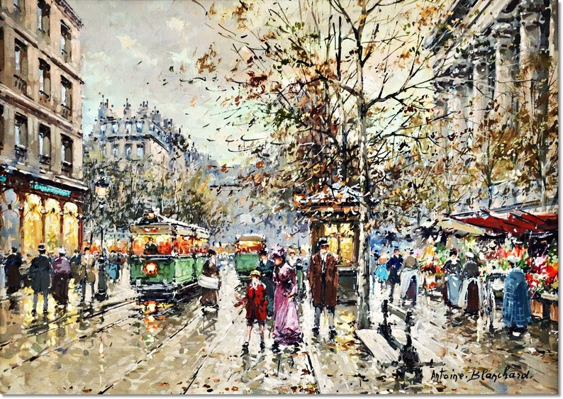 Art Reproduction Giclee Madeleine Painting by Antoine Blanchard Flower Walk Stretched Canvas