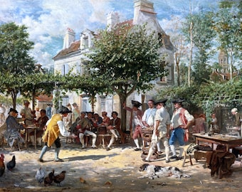 Sunday in Poissy Painting by Jean Louis Ernest Meissonier Art Reproduction