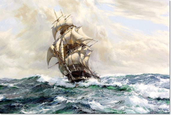 newest 0852e 310be Stretched Canvas - The Marco Polo Painting Montague Dawson - Art  Reproduction Giclee