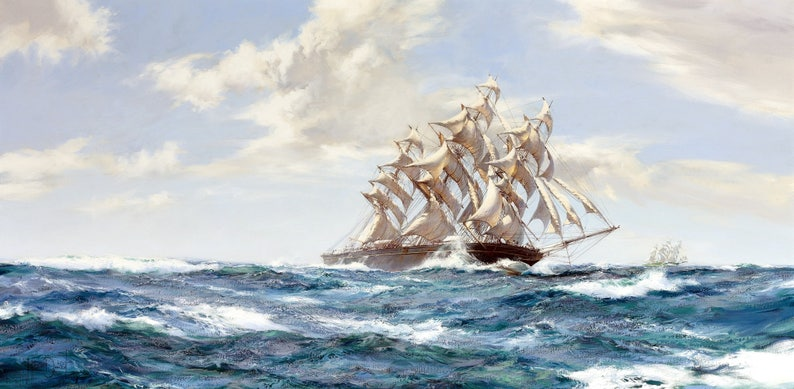 Racing Home Painting by Montague Dawson Art Reproduction