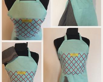 Turquoise & gray apron