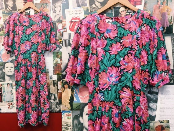 Vintage Rare 70's Adini Indian Floral Day Dress