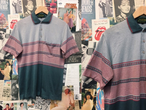 Vintage 1990s Golf Striped Pattern Collared Polo T