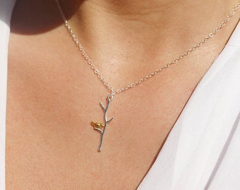 Sterling silver charm necklace - bird charm necklace - silver and gold - wedding necklace - bridesmaid necklace - bird on a twig pendant