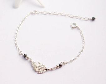 Bracelet feuille argent massif 925 - pierre hématite - bracelet perles argent - bijoux feuille - bracelet fin argent - bijoux mariage bohème